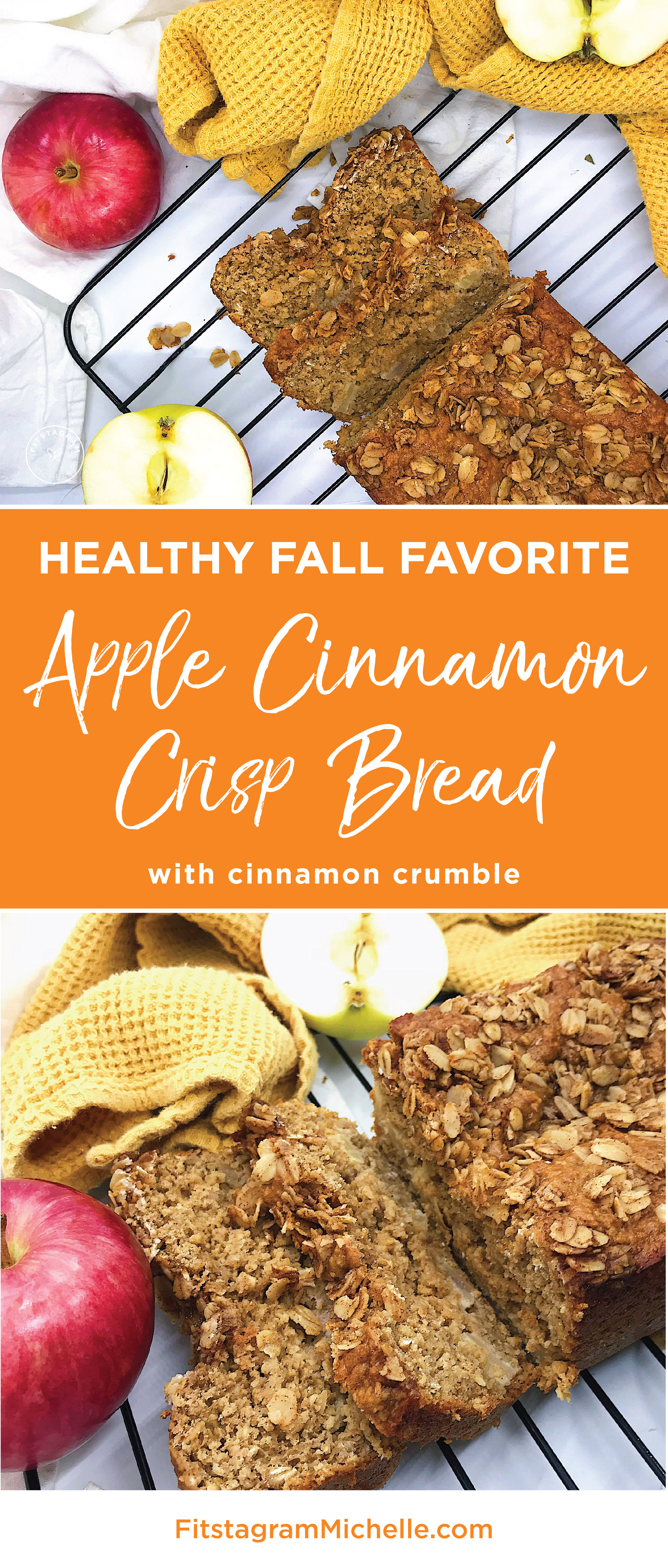 Healthy Apple Cinnamon Crisp Bread! Sweet and moist but all healthy ingredients. Simple to make and tastes like cake! Find the recipe at Fitstagrammichelle.com