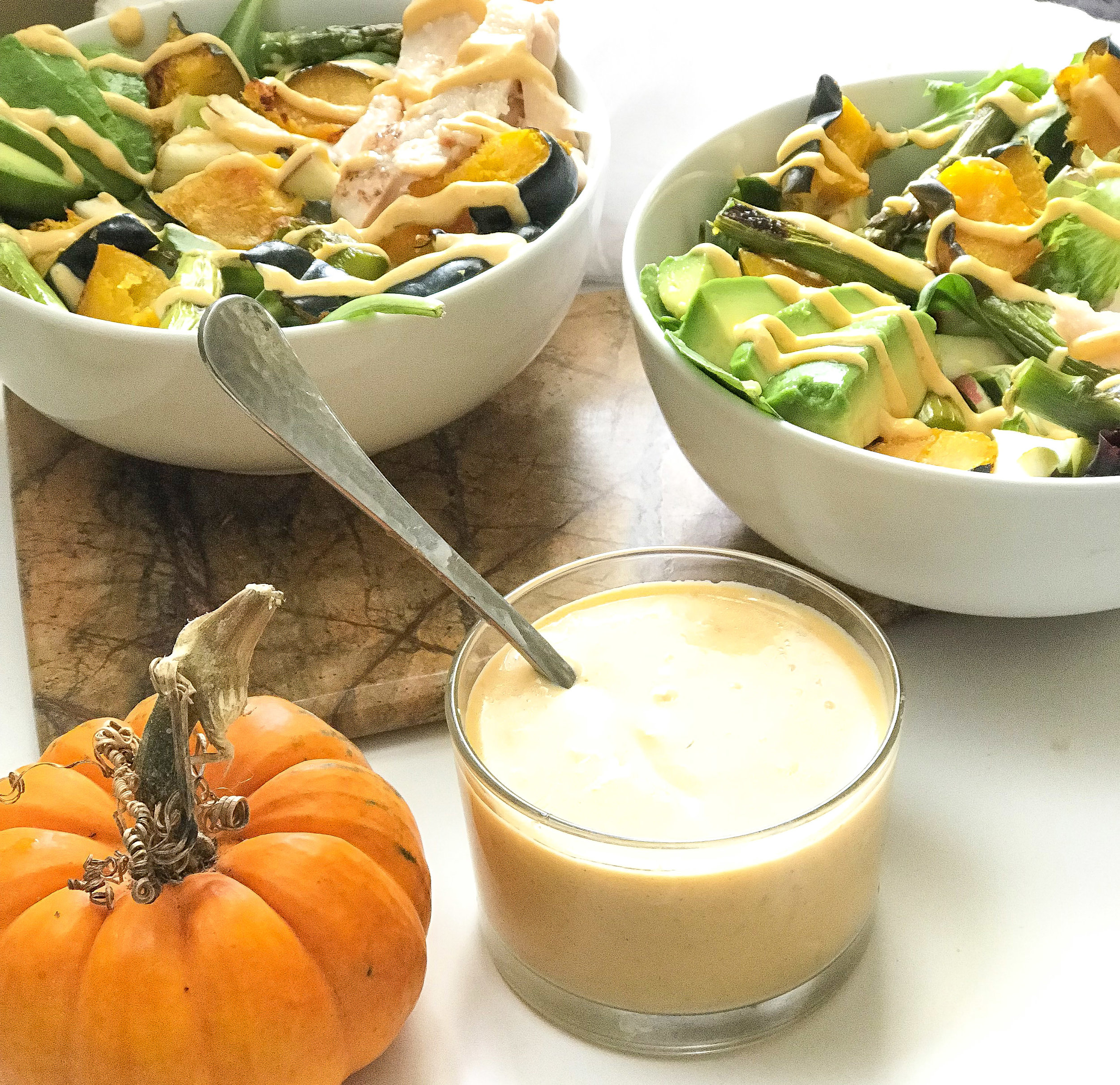 Fall salad with pumpkin dressing -