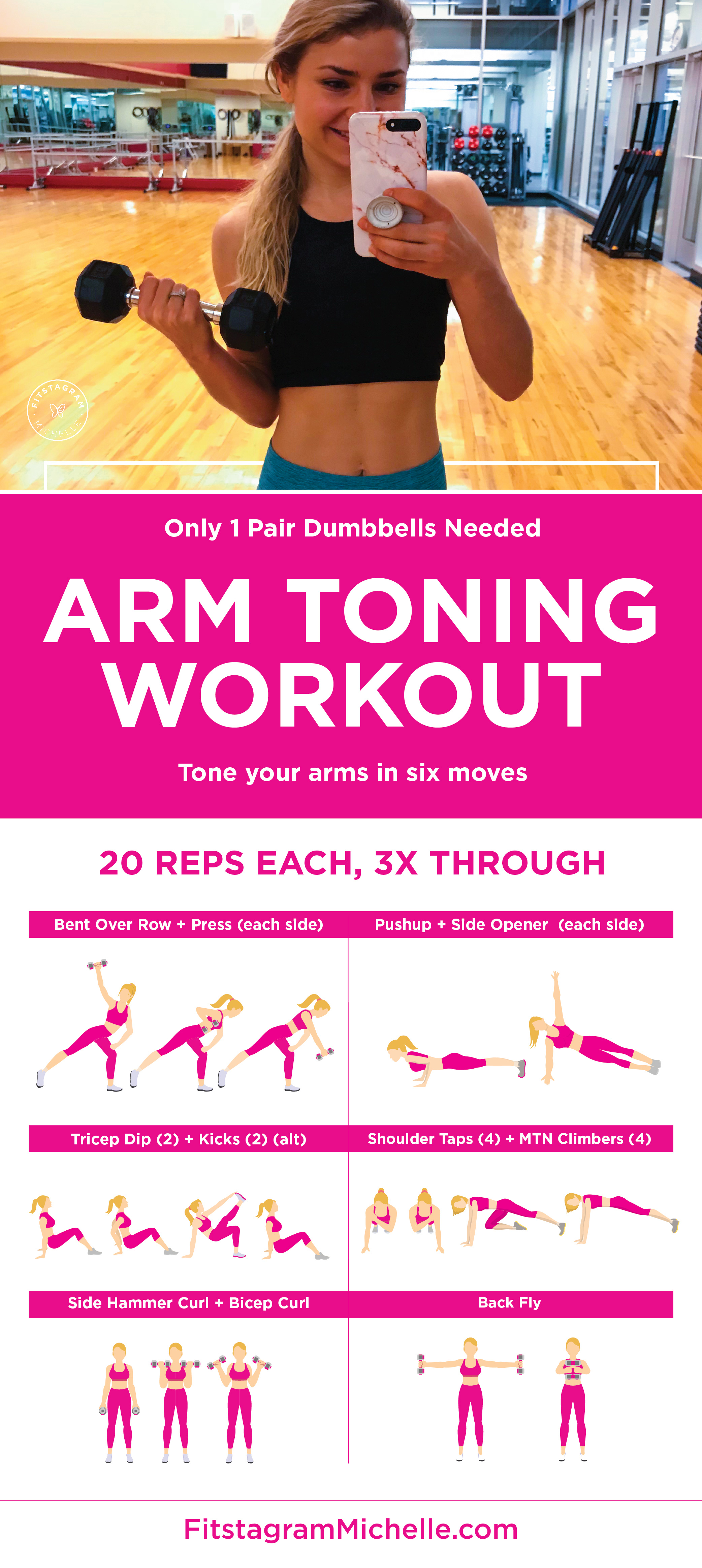 Arm workout. Six moves, one pair of dumbbells to tone your arms.
