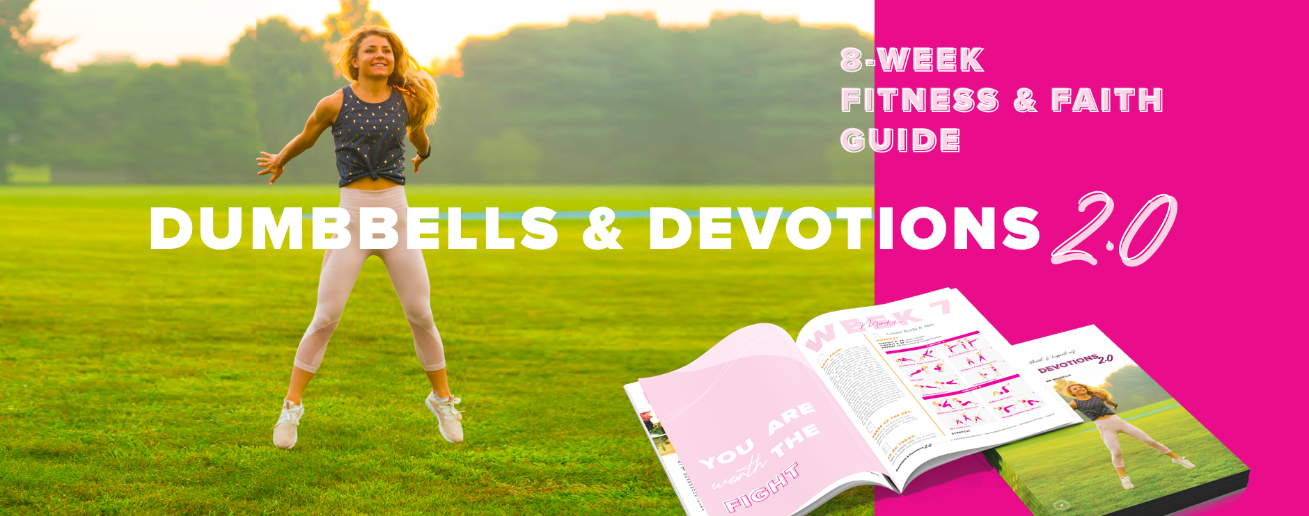 Dumbbells & Devotions 2.0 an 8-week fitness and faith program designed to help women know their worth, get fit, and love themselves.