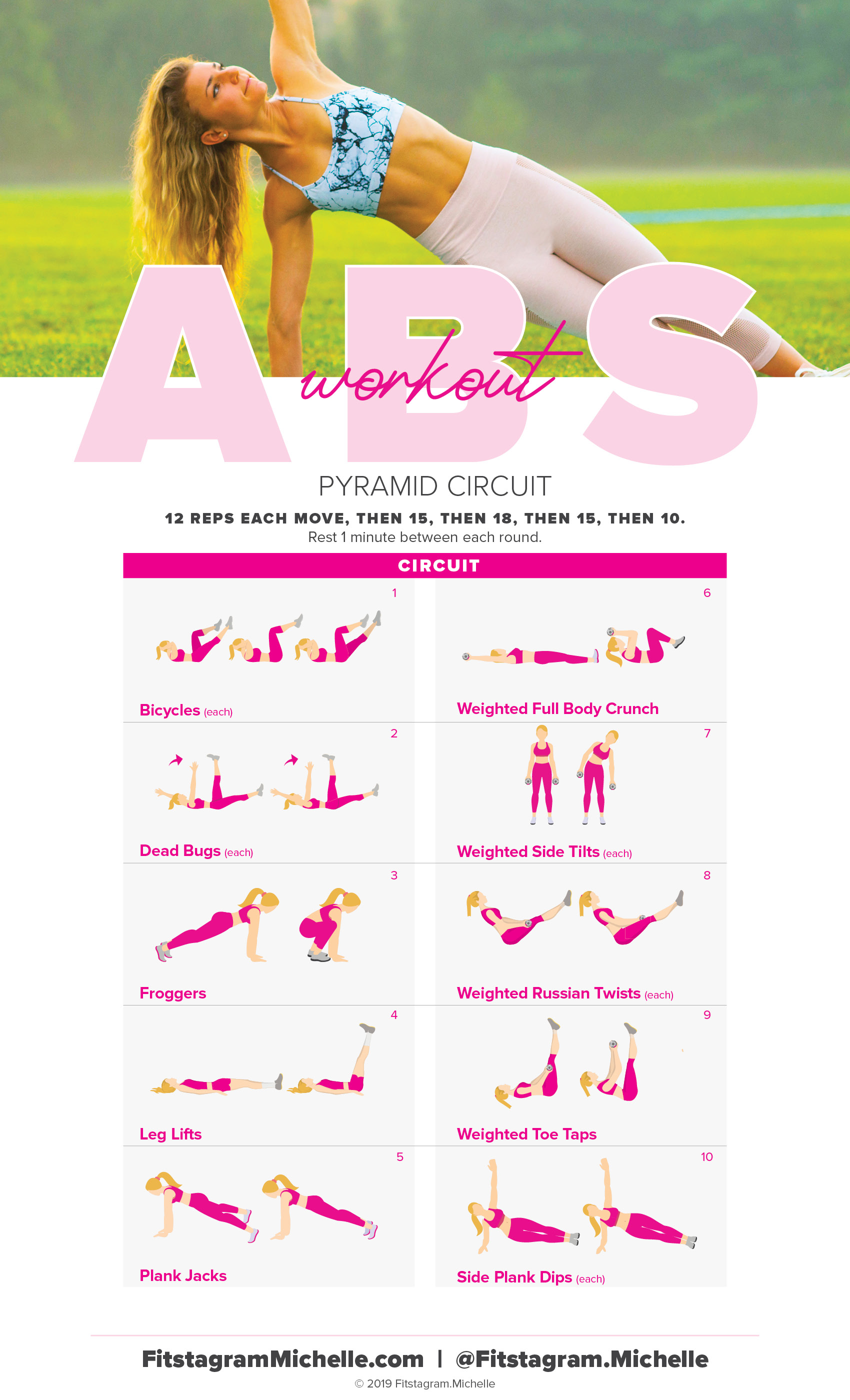 6-pack ab workout for women. Tone your abs with this pyramid workout. Fitstagram Michelle