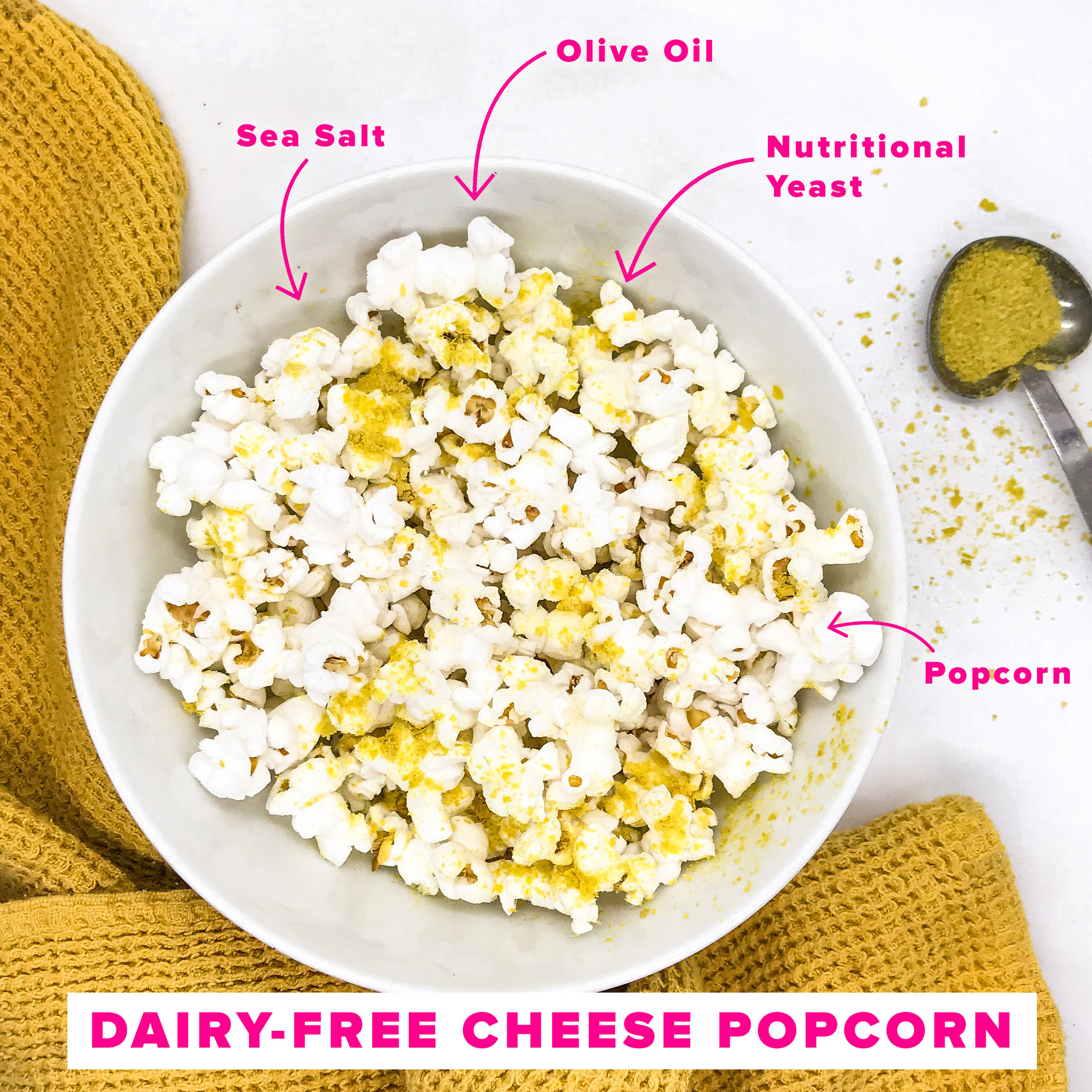 Cheesy Dairy-free Popcorn - Healthy snack options by Fitstagram Michelle
