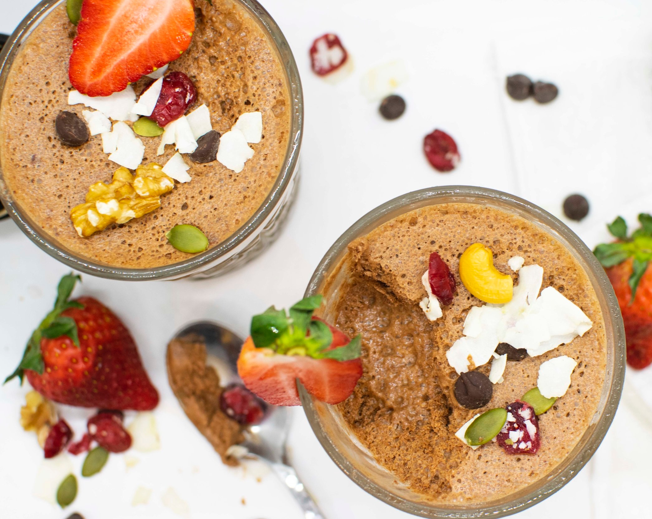 Chocolate mousse from chickpea water! Vegan, dairy-free, and a healthier alternative.  These are the perfect healthy treat and super simple to make.