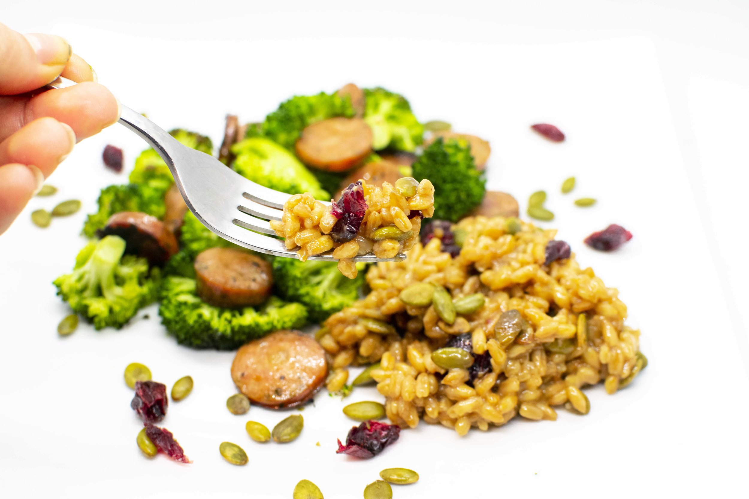 Farro, broccoli, and chicken sausage dinner