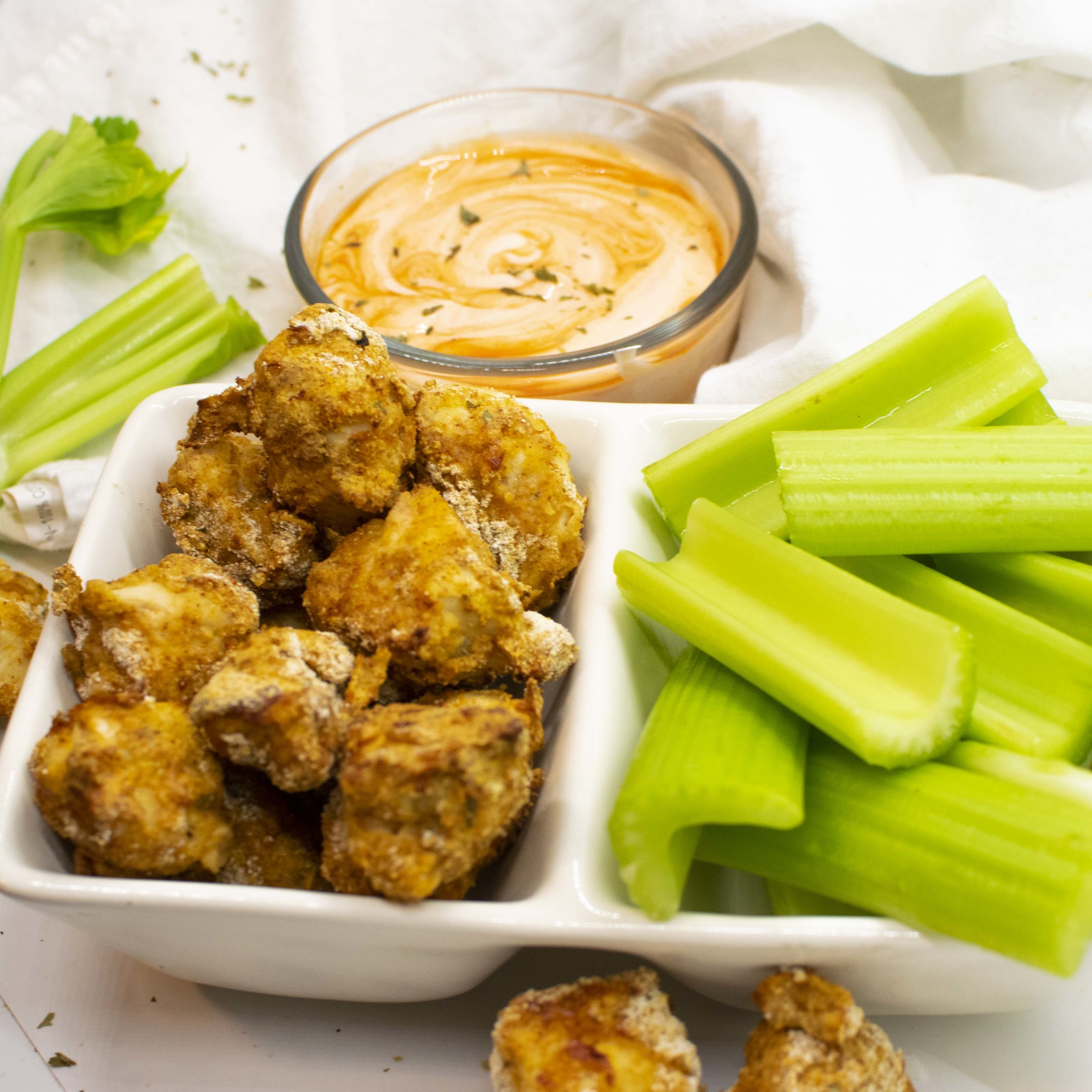 Healthy Buffalo Chicken Nuggets - air fryer or oven baked!