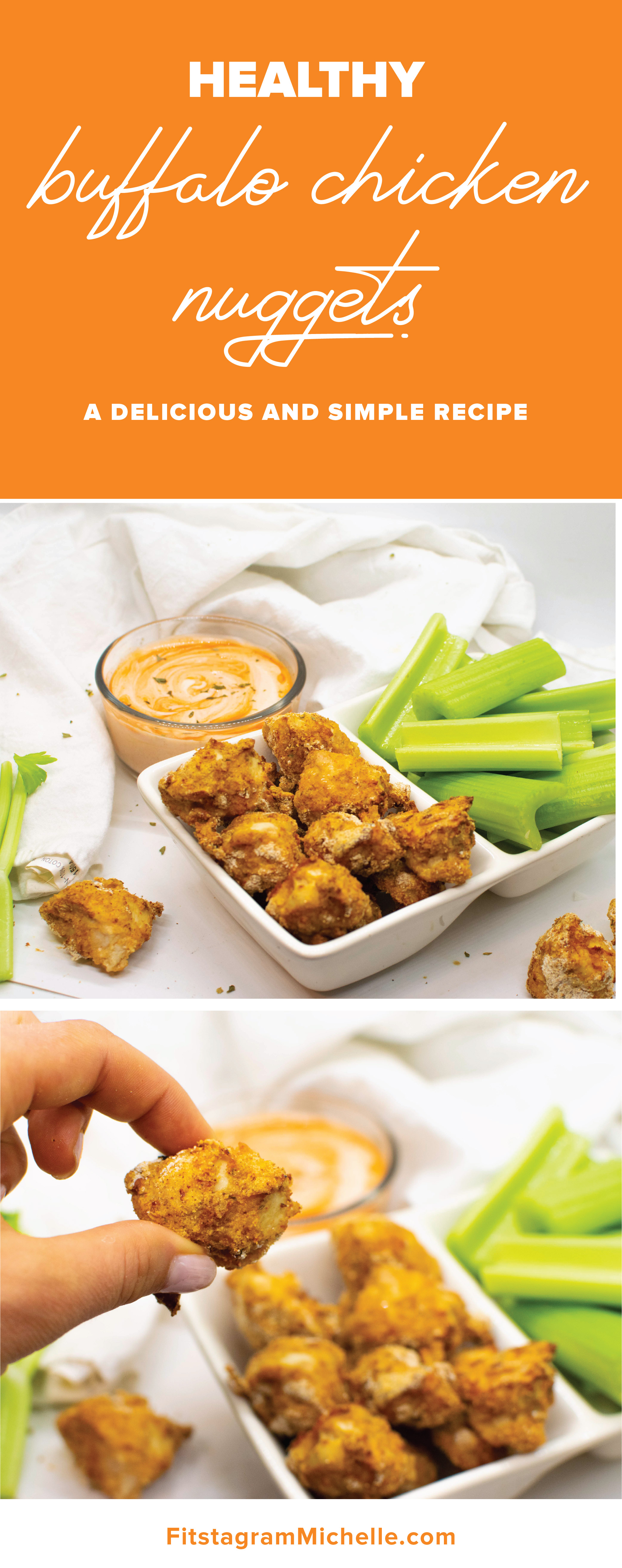 Healthy Buffalo Chicken Nuggets - a simple and delicious recipe that is a childhood favorite recreated to be adult!