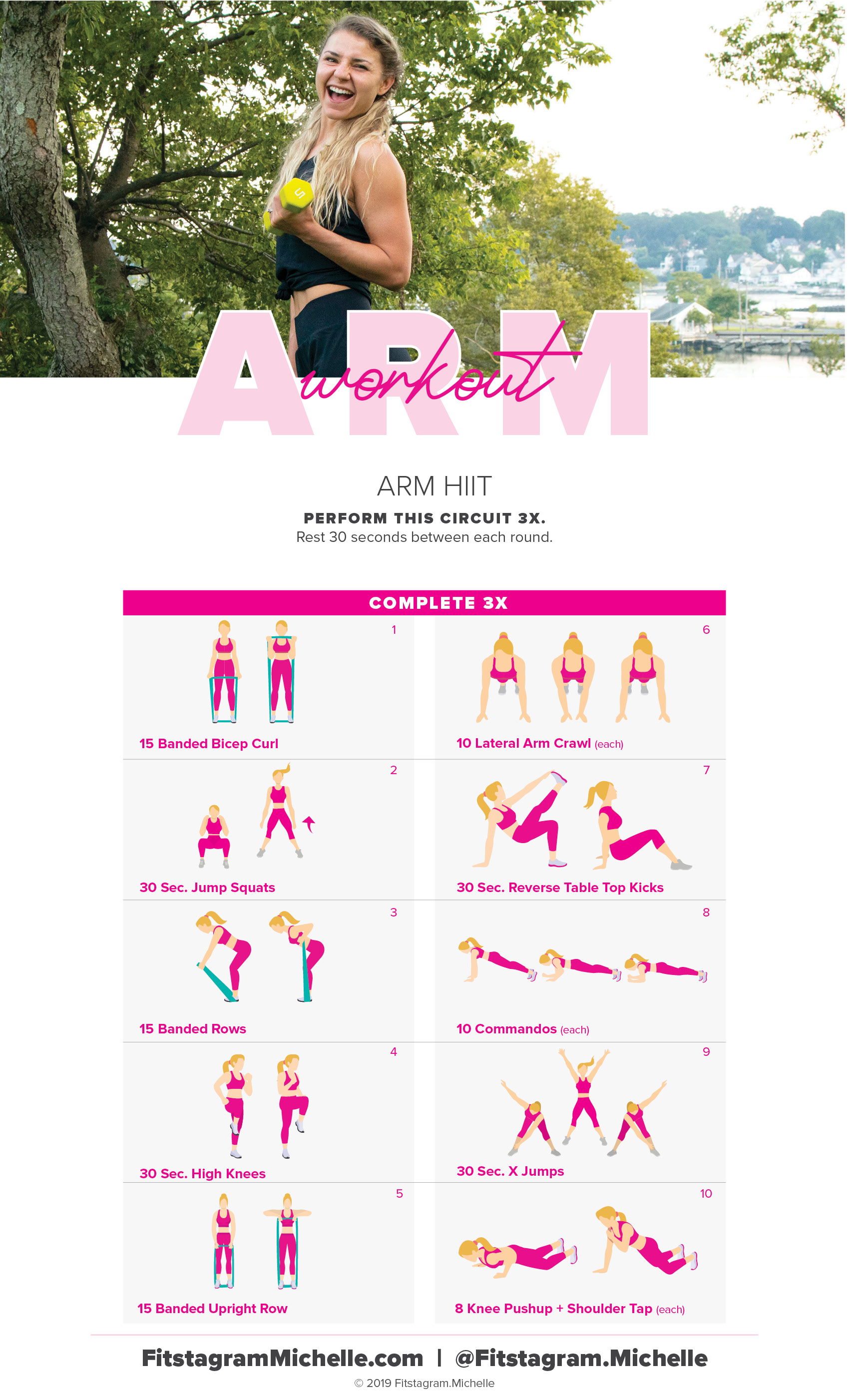 Try this Arm HIIT workout the ultimate burn. Using just 10 moves , you'll form lean muscles.  A women's arm workout to tone up and burn fat.  #womensfitness #weightloss #armworkout #hiitworkout #womensarmworkout