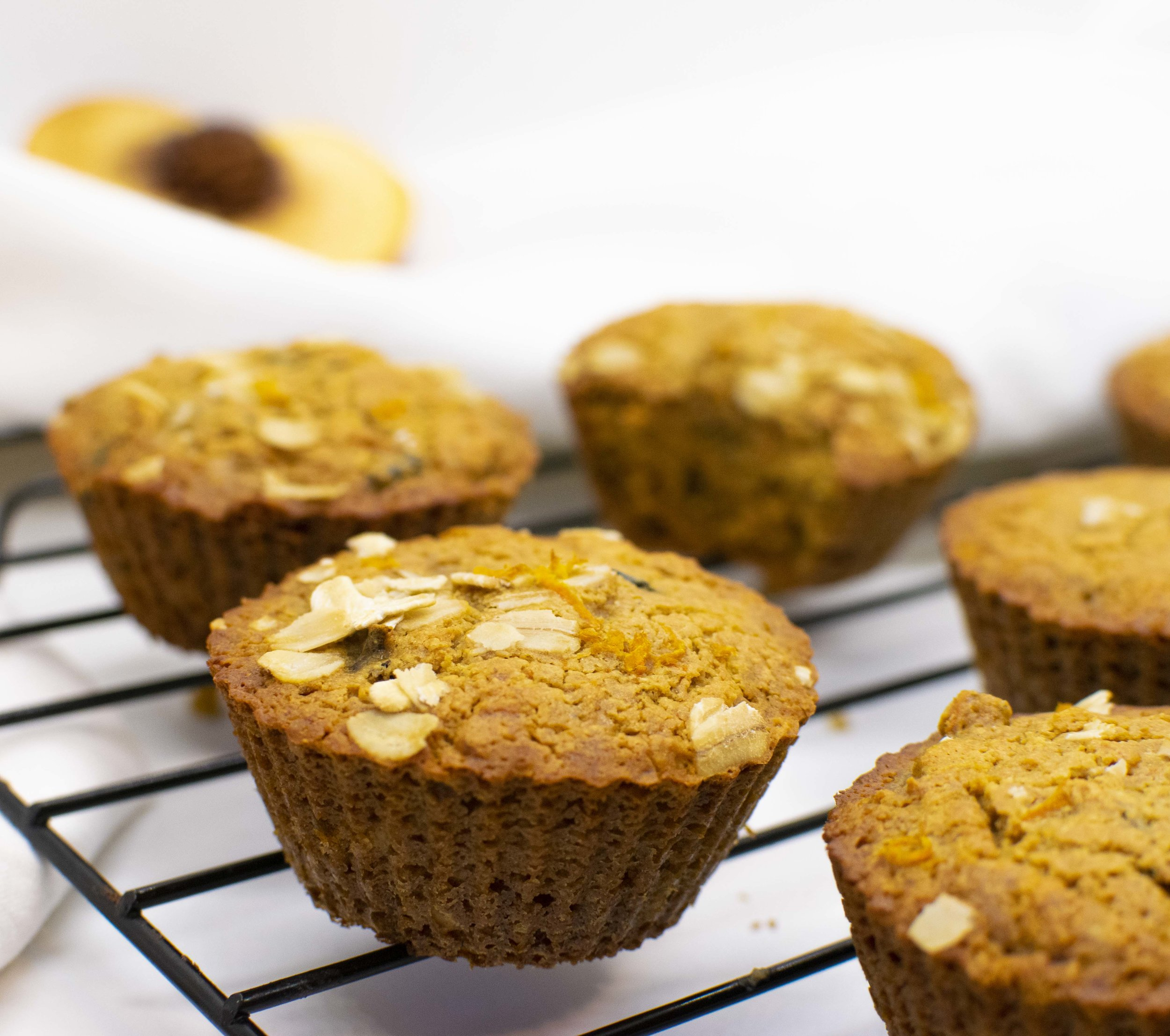 Healthy Peach Breakfast Muffins with hidden veggies! So simple and so delicious