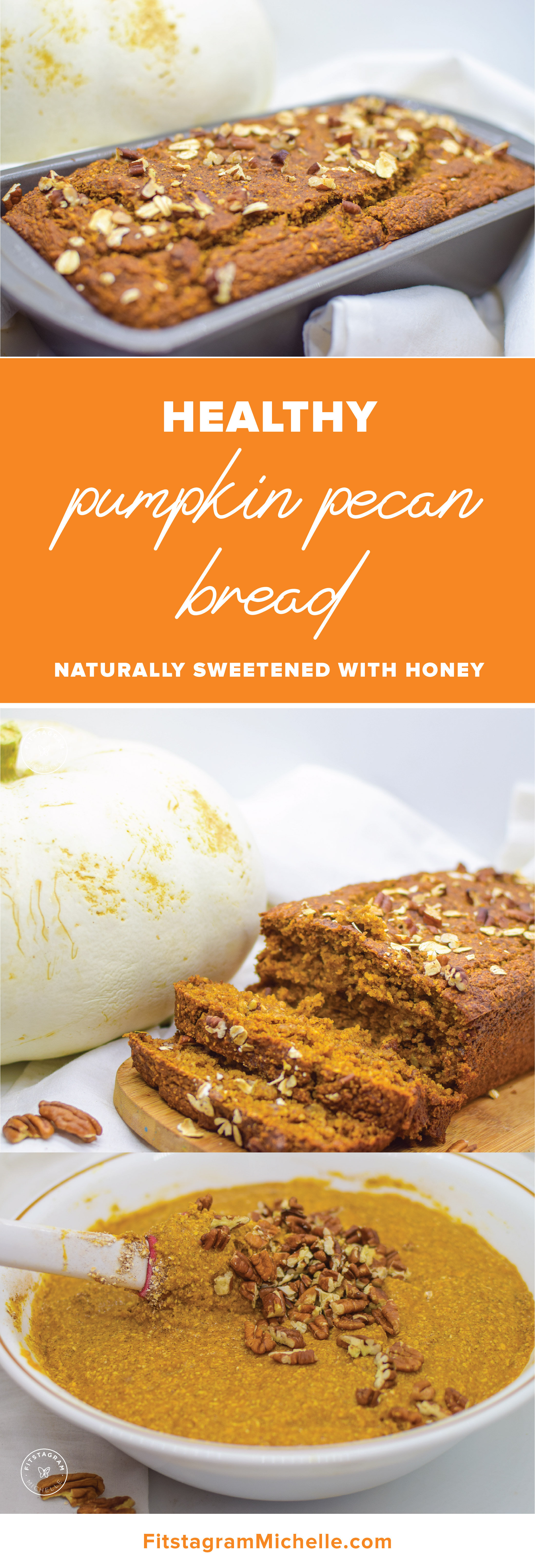 Healthy Pumpkin Pecan Bread - perfect for breakfast or snack. These are dairy-free, gluten free, sugar-free, and butter free.