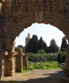 The 1957 sanctuary seen through 3rd century B.C. ruins. photo: Paul Fornaby