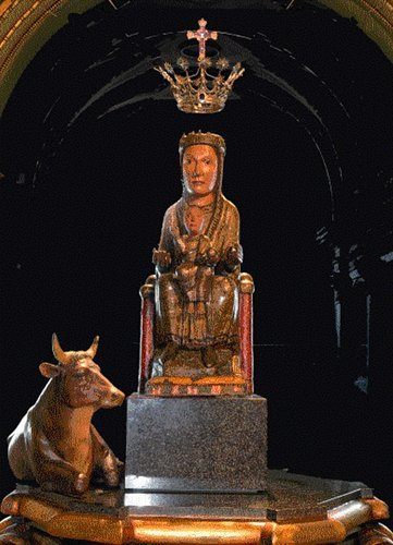 Black Madonna of Olot with her bull