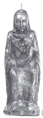 The Black Madonna without her robes, showing the rod to which the crown is attached so it doesn't fall during processions.