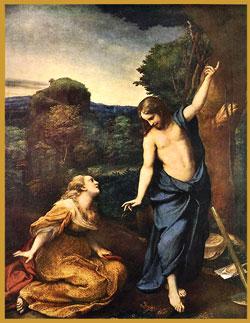 "Mary Magdalene and resurrected Jesus, ""Noli me Tangere"" by Correggio"