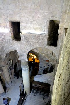 the view from the upper church into the crypt