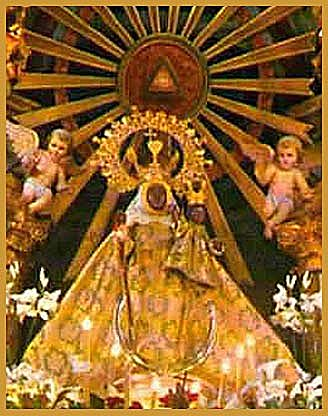 Our Lady of the Light, Cuenca, Spain, with the triangle of the trinity above her. Photo courtesy of José Hernández Matías