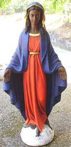 """An ordinary garden statue of the type """"Our Lady of all Graces"""" turned Black Madonna on my porch by Suli Marr."""