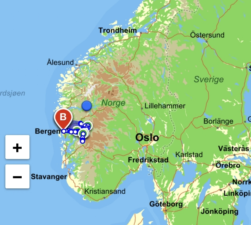 Vi køyrde frå Bergen til Hardanger og besøkte 8 siderprodusentar som vi har jobba med den siste tida.