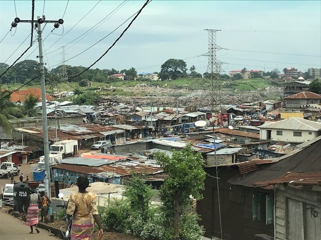 The view on the way to the prison.  This is where much of the poverty is in Freetown.