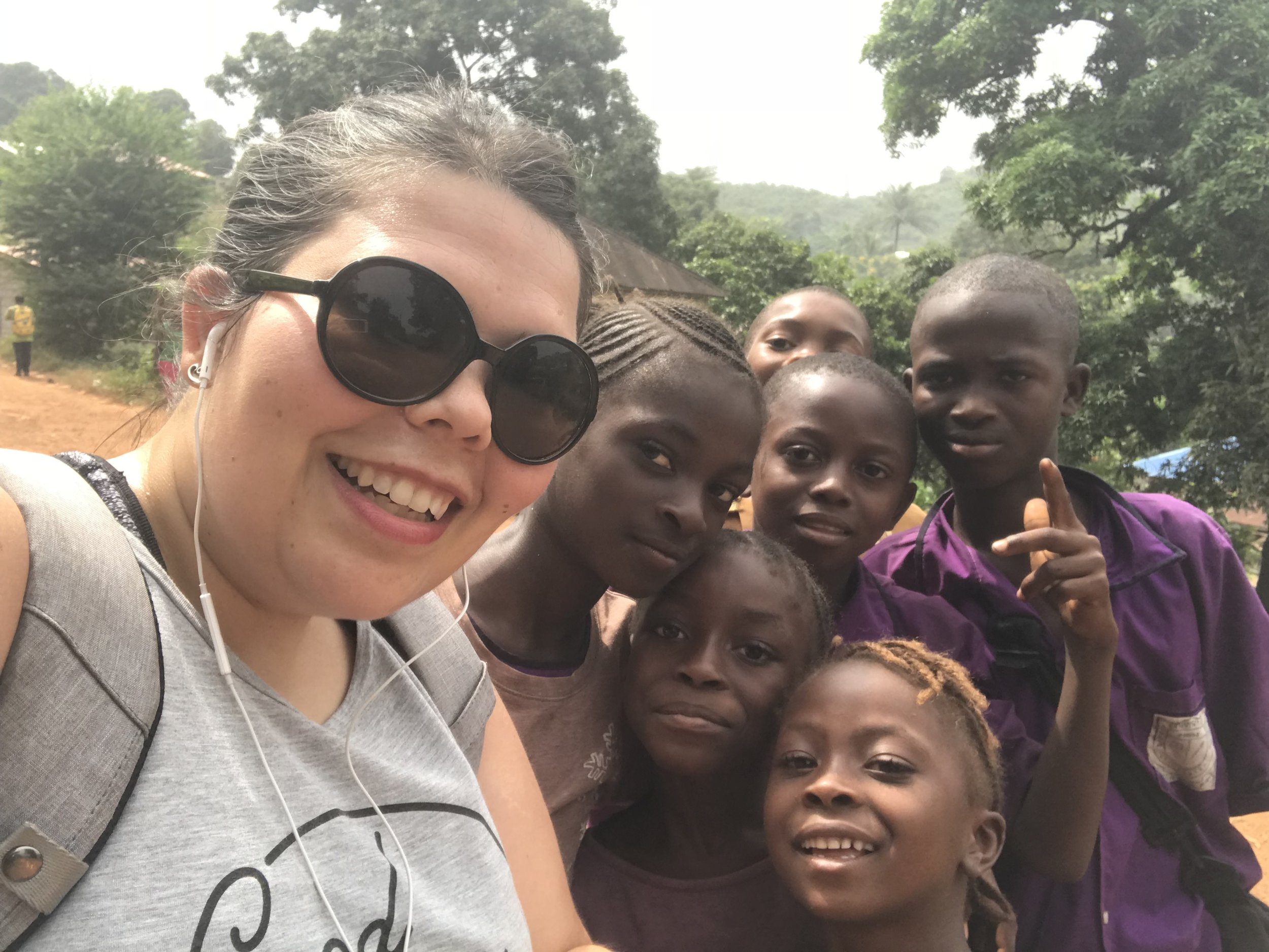 Selfie with the neighborhood kids. Today two children ran up to me from across the street and hugged me. It was the sweetest.