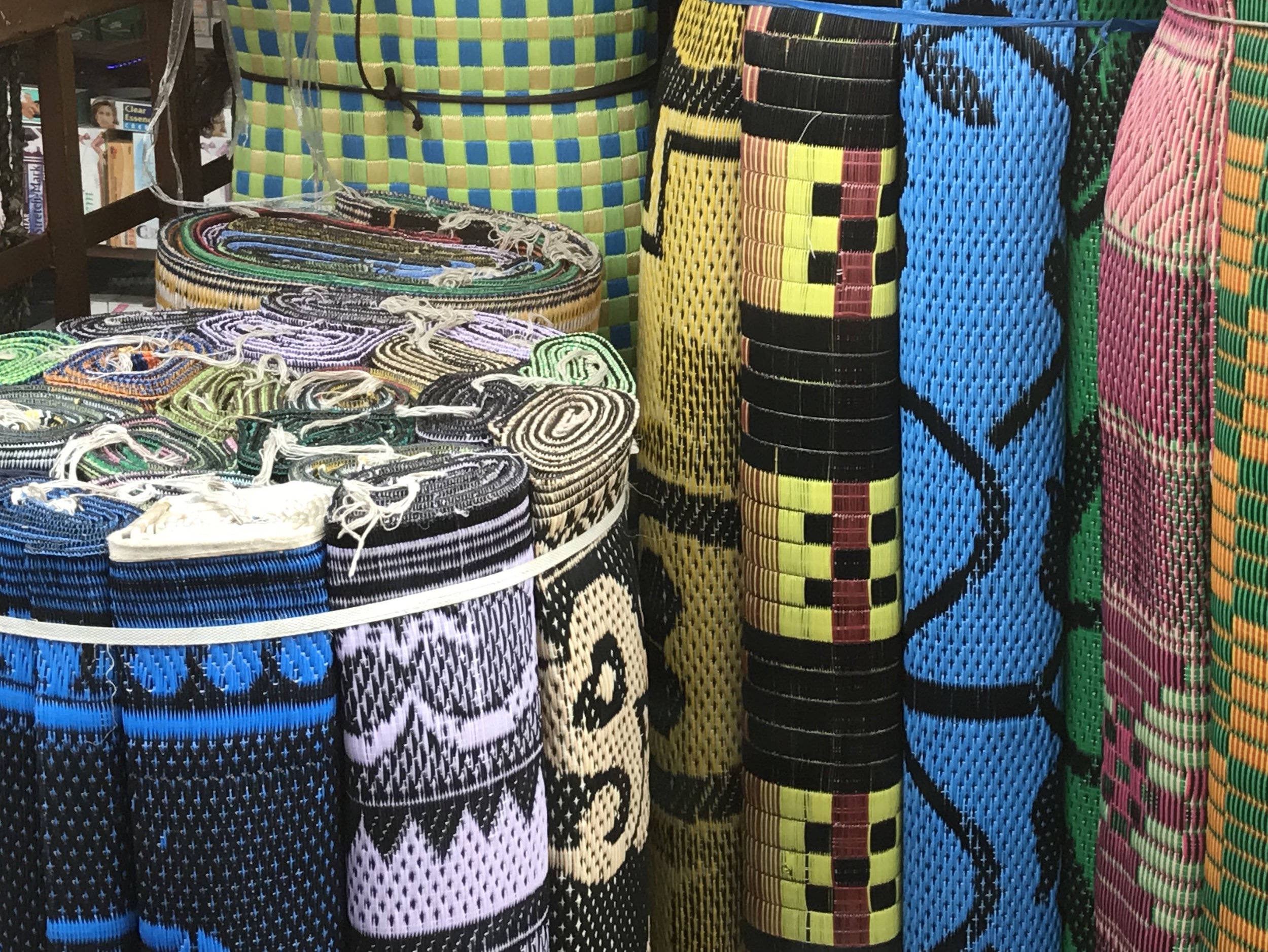 Islamic prayer mats for sale on the street