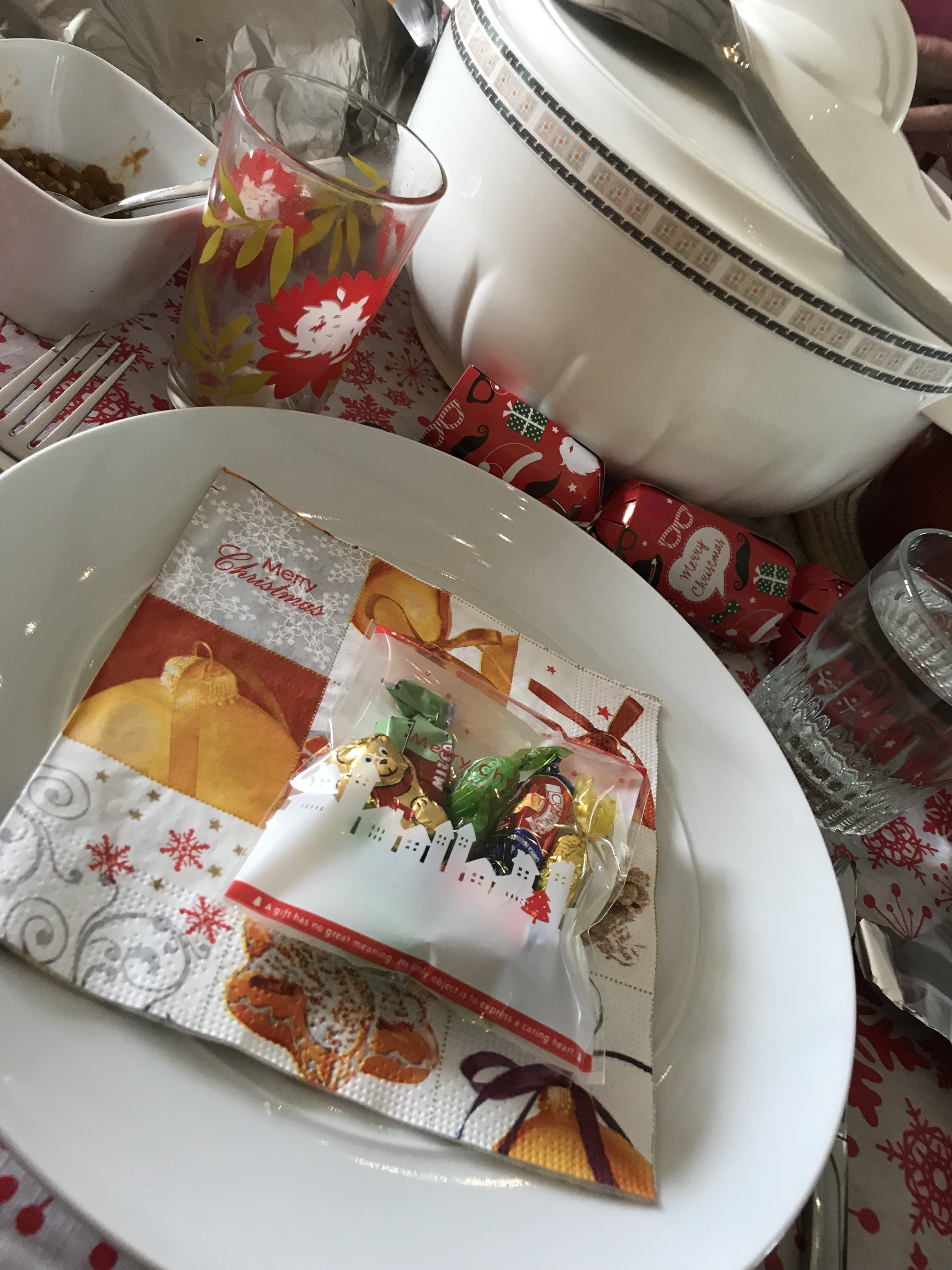 I spent Christmas with the SL International Church community. Christmas Eve at an American's home for Lessons and Carols. Christmas dinner at an Irish/Sierra Leonean couple's home (she's Irish, he's from here). She was an outstanding host right down to the bag of candies on my plate.