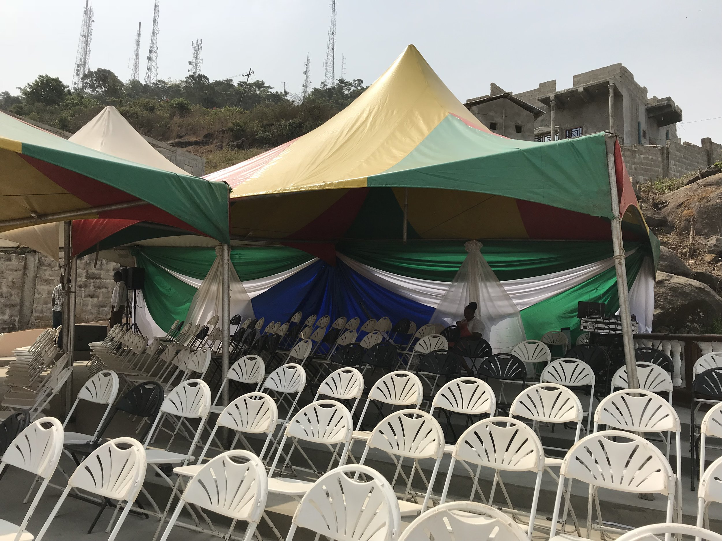 The amphitheater all decorated and ready for guests