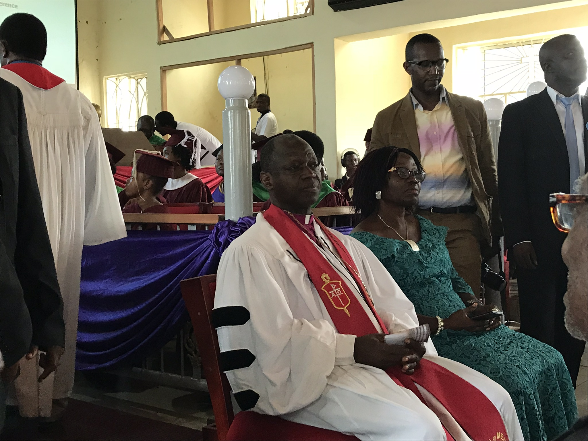 The Bishop and his wife Mrs. Yambasu receive their appreciation gifts.