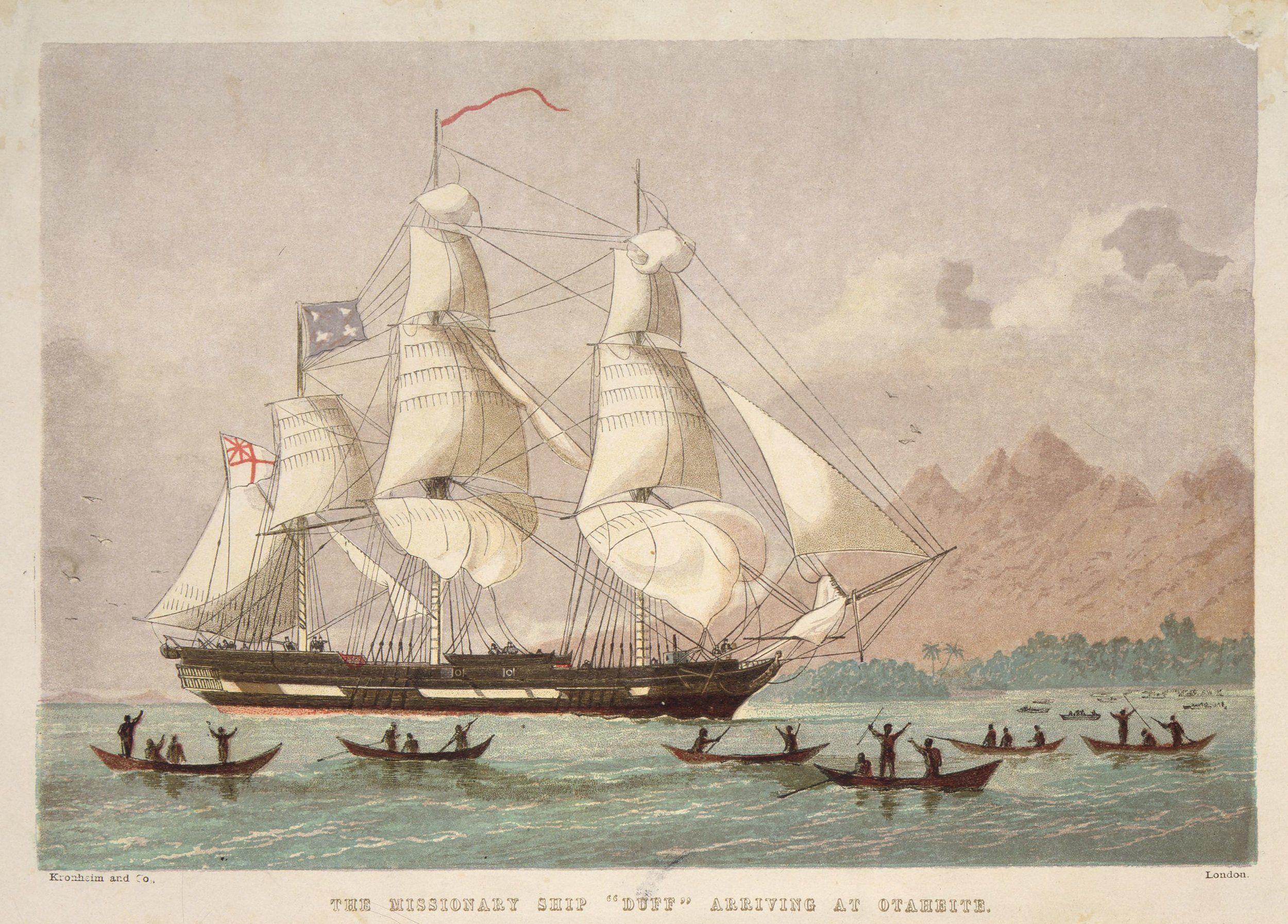 """The missionary ship """" Duff """" arriving [ca 1797] at Otaheite. [Printed by] Kronheim and Co. London [1820s?]."""