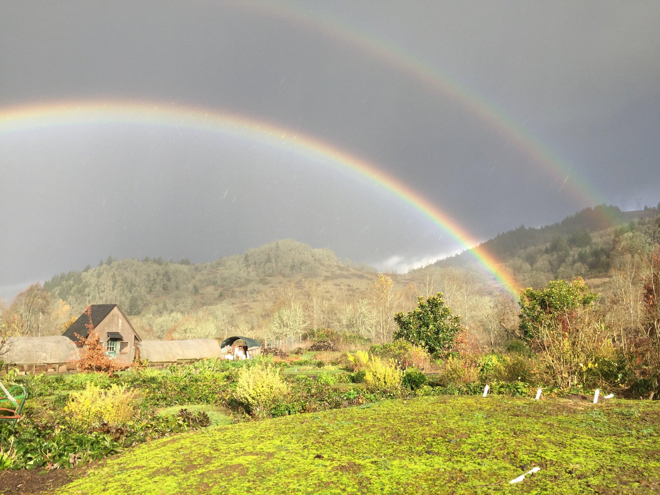 Double rainbow over Mt. Pisgah and the farm.