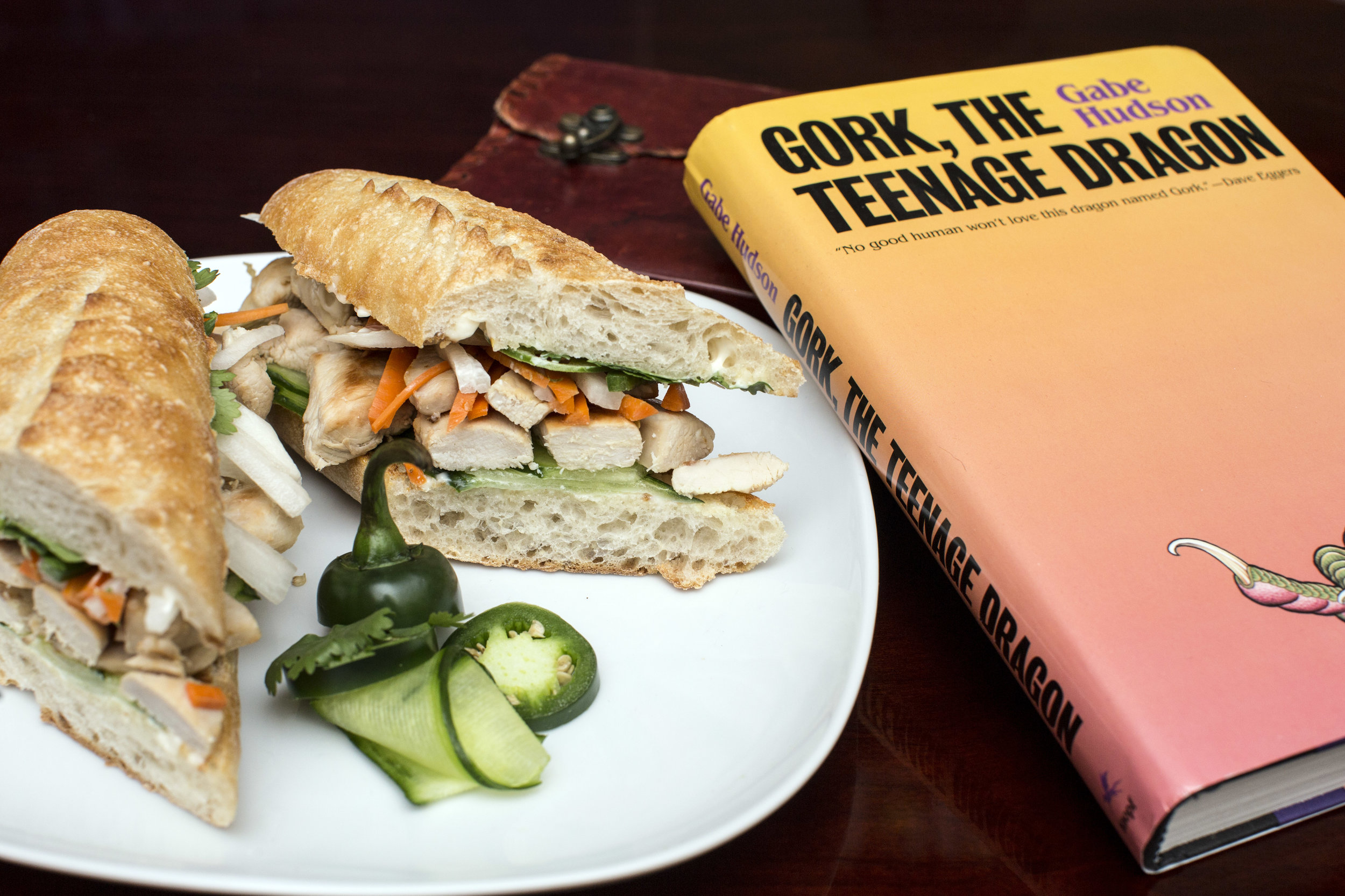 Ingredients: Vietnamese-marinated grilled chicken breast, pickled carrots and daikon radish, cucumber, cilantro, jalapeño, and mayonnaise on a baguette.