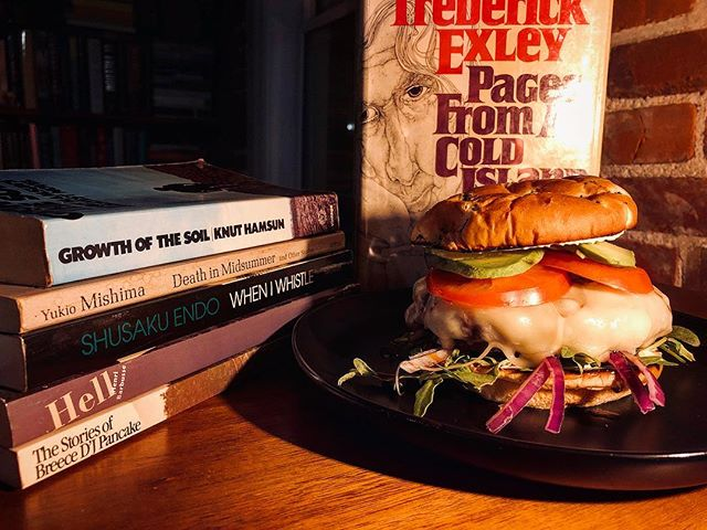 ... 📚 Read Books, Eat Sandwiches 🥪 . Enjoying a Cheeseburger with Swiss, avocado, red onion, arugula, and tomato on a butter grilled onion bun while finding some shelf space for this weekend's book haul from Prospero's Books. . #readbookseatsandwiches  #thesignaturesandwich #prosperos #prosperosbooks #kansascity #mo #kc #frederickexley #breecedjpancake #knuthamsun #henribarbusse #shusakuendo #yukiomishima  #read #books #sandwich #sandwiches #igbooks  #instabook #bookish #cheeseburger #bookstagram #burger #readabook #readabookinstead #wordsaregood #poetsandprosers #whatsyourfavoritesandwich #yourfavoritewriterstheirfavoritesandwiches