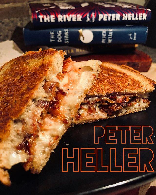"— PETER HELLER! . ""...Fave Sandwich: Watkins Special,  grilled tomato, bacon, cheese on rye!"" — #peterheller . 🍅 🥓 🧀 🍞 . #peterheller #theriver #celine #thepainter #thedogstars #knopf @aaknopf #ilovebooks  #thesignaturesandwich #sandwich #readbookseatsandwiches #poetsandprosers #yourfavoritewriterstheirfavoritesandwiches  #tomato #cheese #bacon #rye #bread  #grilledcheese #bookstagram #bibliophile  #bookporn #foodporn #foodie #food #book  #readabookinstead #igbooks #bookphotography"