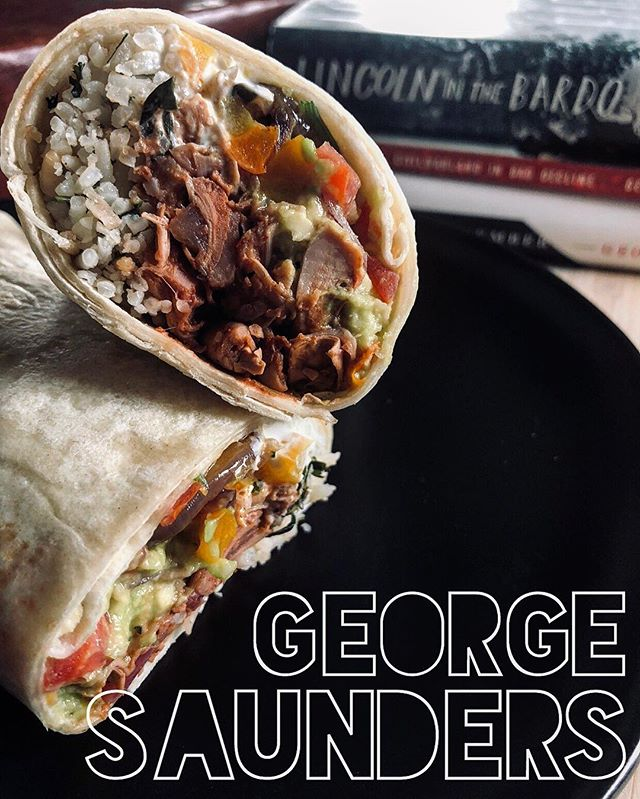 """— GEORGE SAUNDERS! . """"Fave sandwich: a veggie burrito, squashed flat"""" — #georgesaunders . No, no, you read that correctly: a burrito...SQUASHED FLAT! George proves himself a Structural Rebel, both in prose and in sandwiches. A rare vegetarian choice, for this burrito I went with a jack fruit """"carnitas"""" with cilantro and lime rice, grilled peppers and red onions, sour cream, guacamole, and pico de gallo. And of course, as instructed, I smashed it flat. . 🌯 📚  #whatsyourfavoritesandwich  #georgesaunders #lincolnonthebardo  #tenthofdecember #civilwarlandinbaddecline  #pastoralia #randomhouse #riverheadbooks  #thesignaturesandwich #readbookseatsandwiches #sandwich #book #books #bookstagram #igbooks #instabooks #ilovebooks #readabookinstead  #bibliophile #sandwiches #foodporn #bookporn  #read #poetsandprosers #wordsaregood #eatasandwichandgetbacktowork #burrito"""