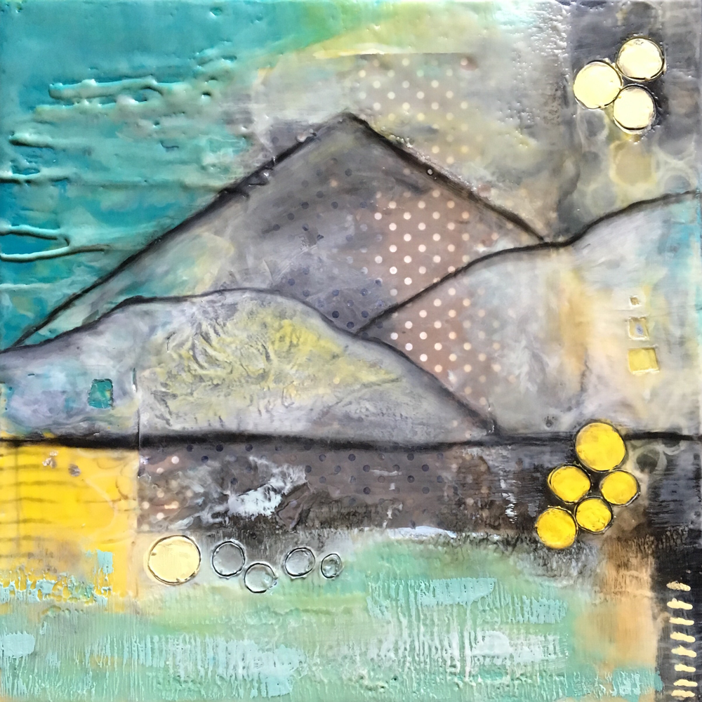 SEA MEETS MOUNTAINS - Encaustic on Wood