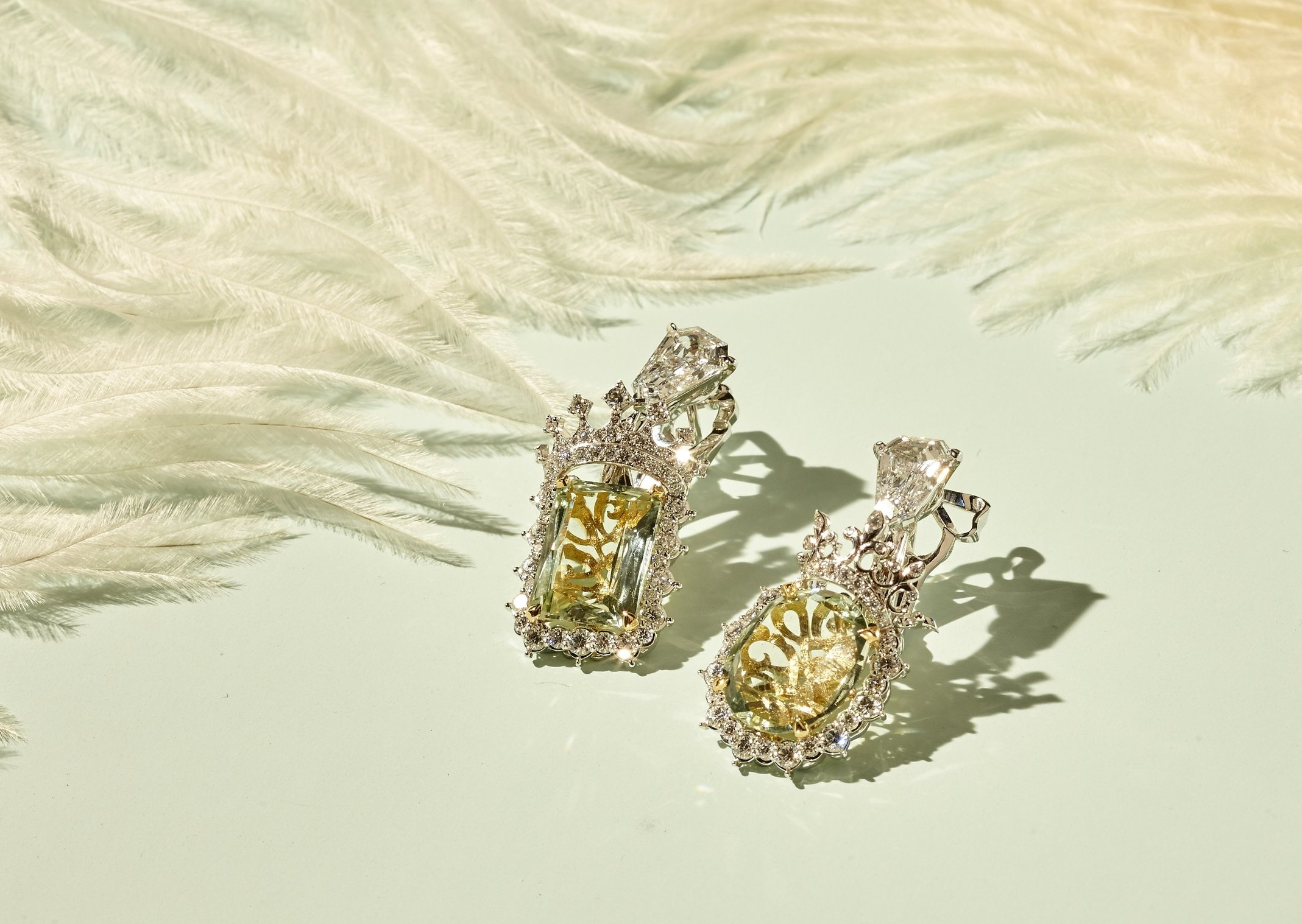 King and Queen Cachette Beryl Vert Earrings, Dior Fine Jewelry, PHOTO: F. Martin Ramin for WSJ