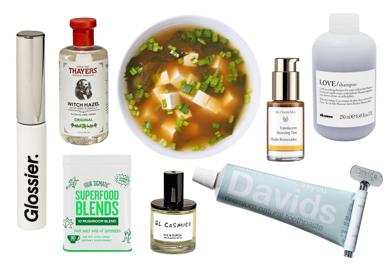 Clockwise from left: Glossier Boy Brow; Thayers Witch Hazel; Miso soup; Dr. Hauschka Bronzing Tint; Davines shampoo; Davids Toothpaste; 'El Cosmico' by D.S. & Durga; Four Sigmatic 10 Mushroom Blend. Photos courtesy of WSJ