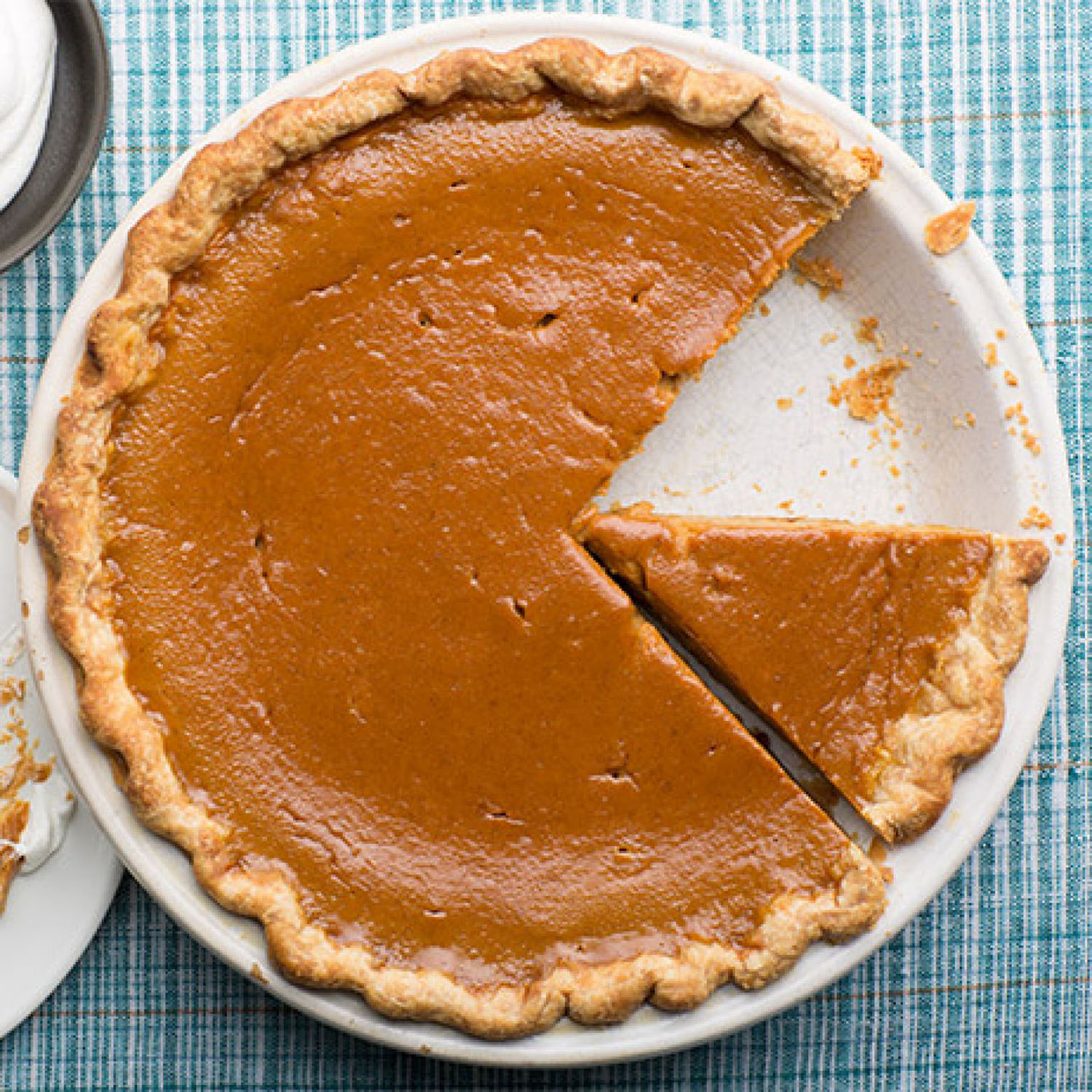 Pumpkin Pie   Slices of pumpkin pie are the ideal image for understanding pie-matched tabletops.  Image from the Food Network