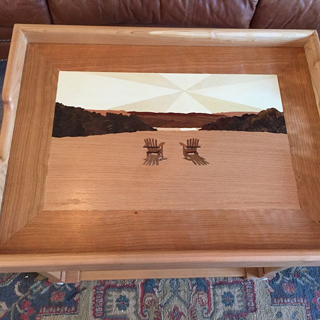 Another 2 Trays/4 Tables gift for newlyweds in Watkins Glen, NY.  They're owners of the Lakeside Resort, and the #marquetry work is a scene from the property that overlooks Lake Seneca.  #coffeetable #endtable #cherry