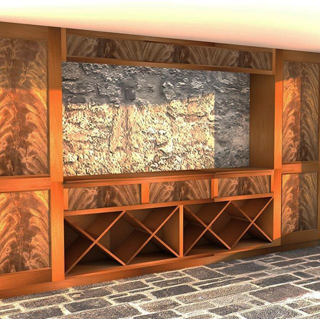 A rendering, and photos from the shop, of #mahogany #cabinetry that's soon to be installed in a #winecellar.