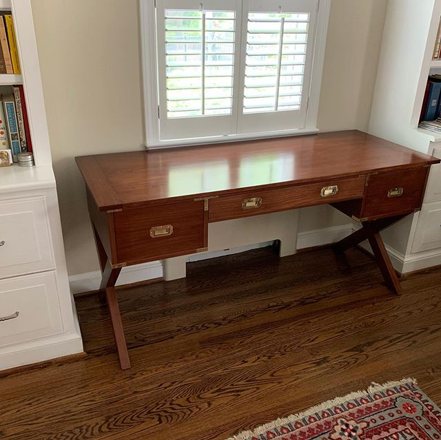 #cherry #campaignstyle #desk for a customer in Washington DC.  Hardware by #paxtonhardware.  Cherry lumber from CP Johnson Lumber.  Finishing products from #generalfinishes