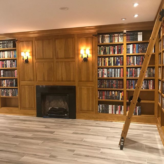 The #homelibrary project is complete, and the #books are up.  #bookcase #bookshelf #libraryladder #library