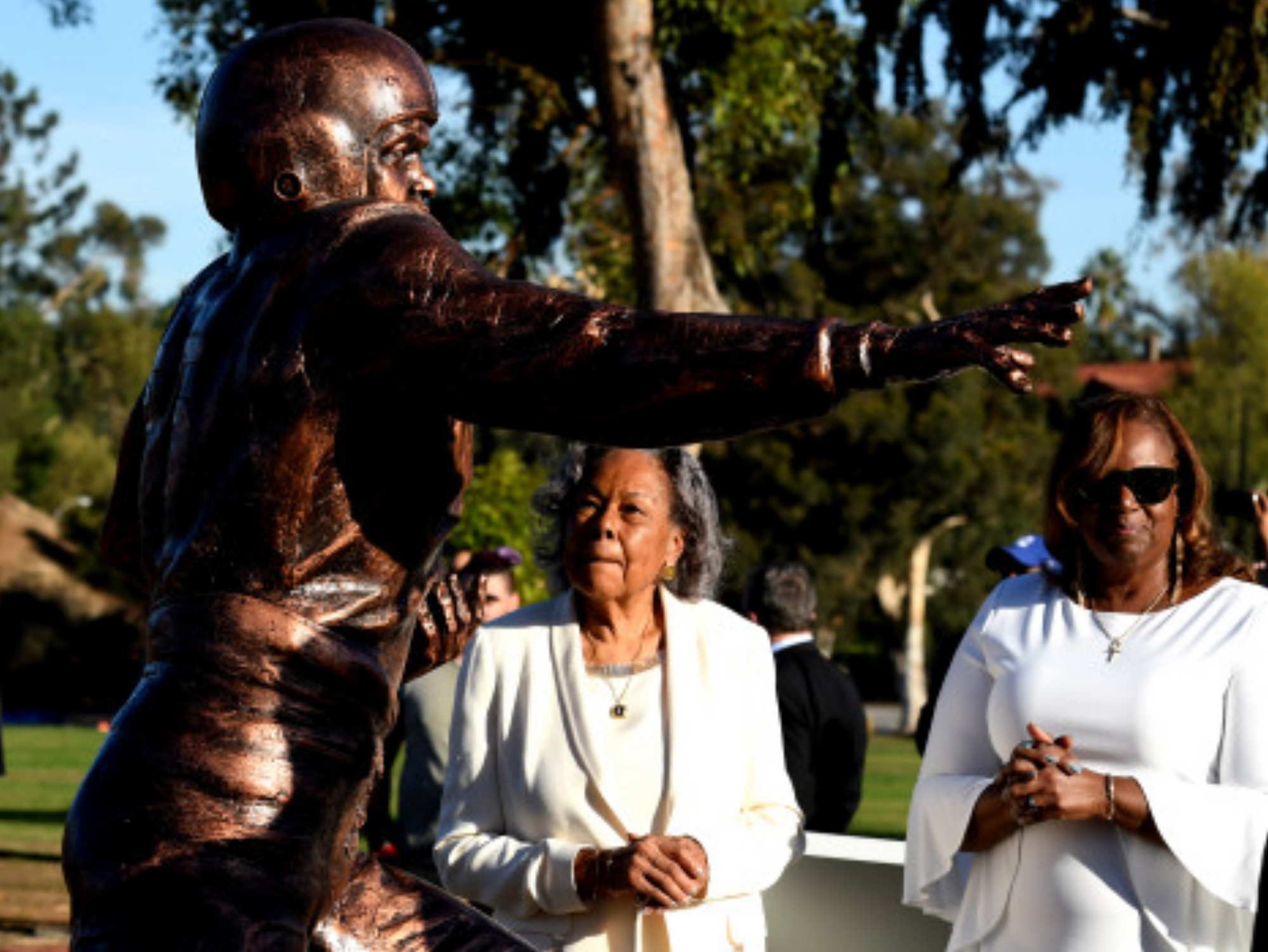 Rachel Robinson, left, with daughter Sharon Robinson during the unveiling a statue of Jackie Robinson by artist Brian Hanlon in the Rose Plaza as a gift from Alba and Thomas Tull's Tull Family Foundation at the Rose Bowl in Pasadena, Calif., on Wednesday, Nov. 29, 2017. (Photo by Keith Birmingham, Pasadena Star-News/SCNG)
