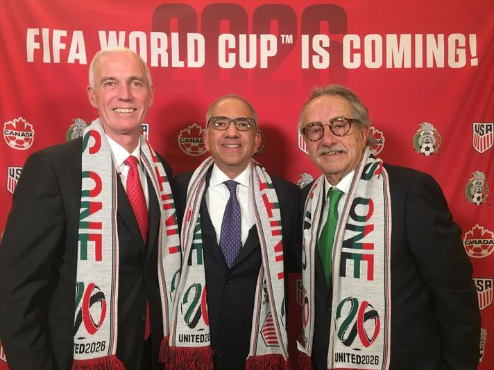 L to R, United Bid Co-Chairmen: Steven Reed (President, Canada Soccer), Carlos Cordeiro (President, U.S. Soccer), Decio de Maria (President, Federación Mexicana de Fútbol Asociación) | Photo courtesy of U.S. Soccer