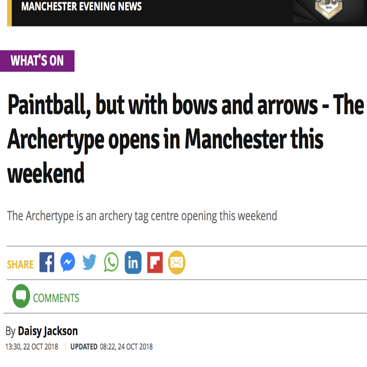 Manchester Evening News - Archery Tag Article Paintball but with bows and arrows.png