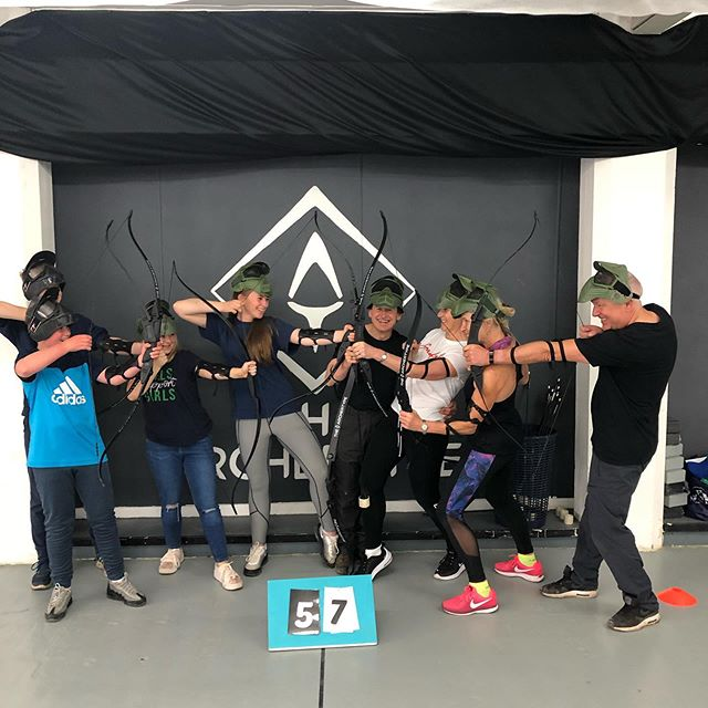 We love this shot of families joining in battle! The adults were luckier than the teenagers this time round 👏🏹 #combatarchery #thingstodoinmanchester #familyfun #thingstodowiththekids #manchester #indoorfun #archerytag
