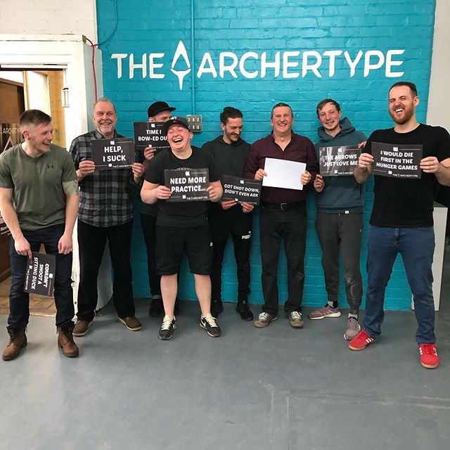 Some rather not show the losing team sign after missing out on the win... but at least they're in good spirits! 😅 #archertype #combatarchery #manchester #thingstodoinmanchester