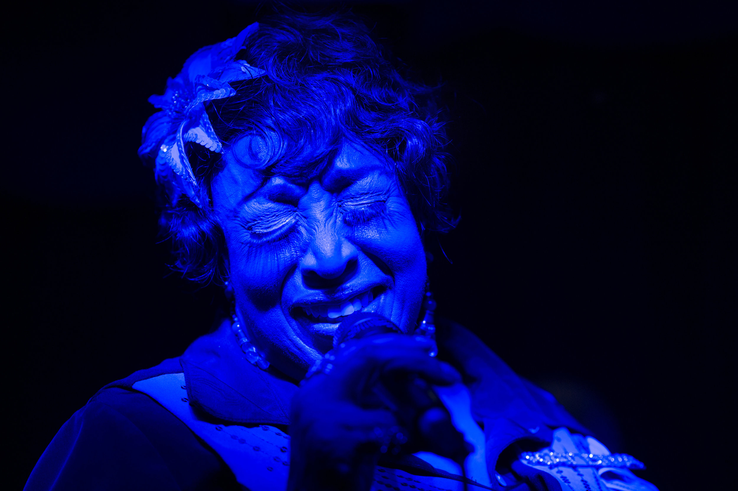 """Audrey Northington, who goes by """"Scat Diva"""" performs on Friday, Feb. 9, 2018 at Baker's Keyboard Lounge in Detroit. Northington has been singing at Baker's for 27 years."""