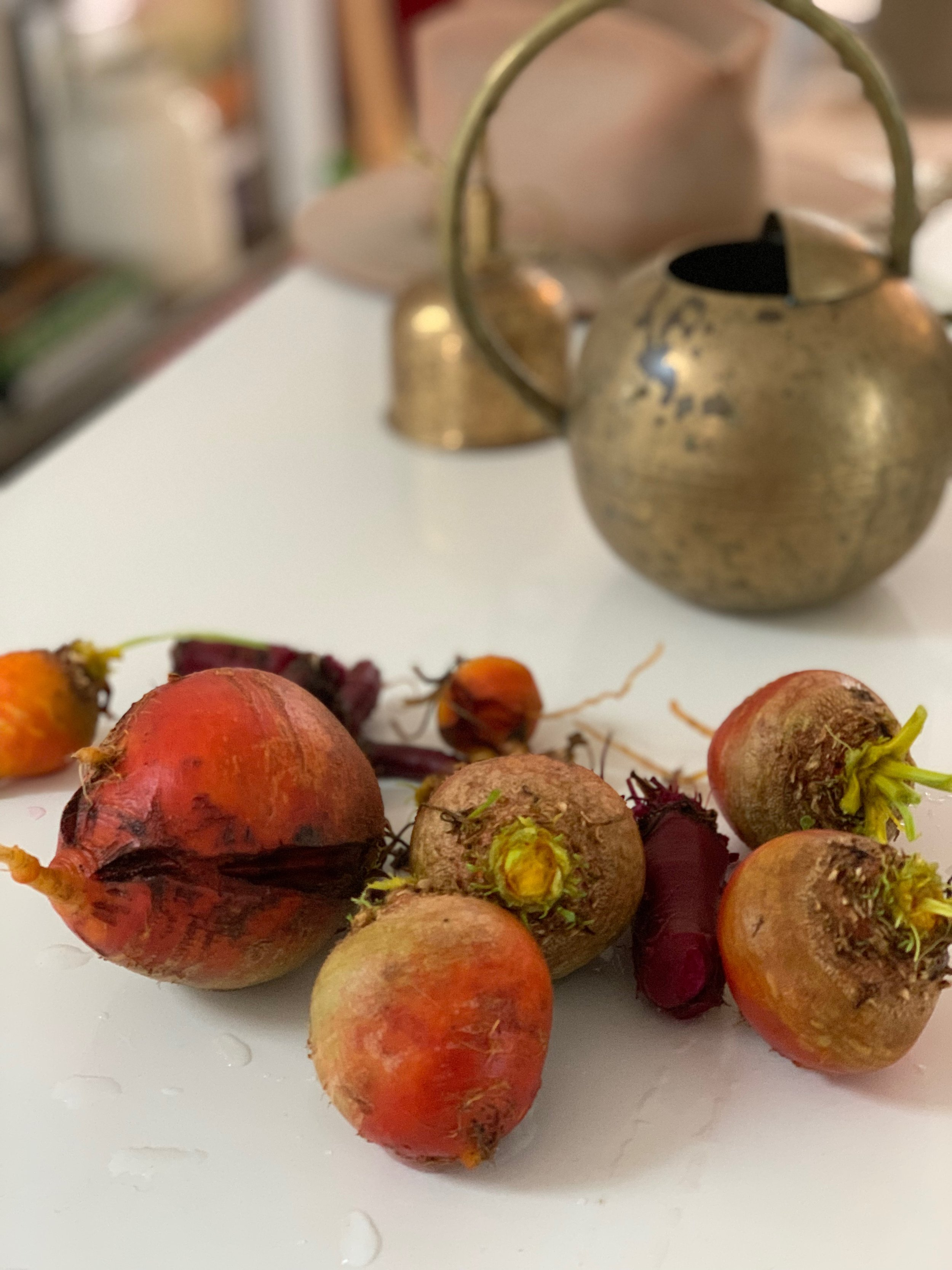 Fresh-picked beets from Carnahan's garden