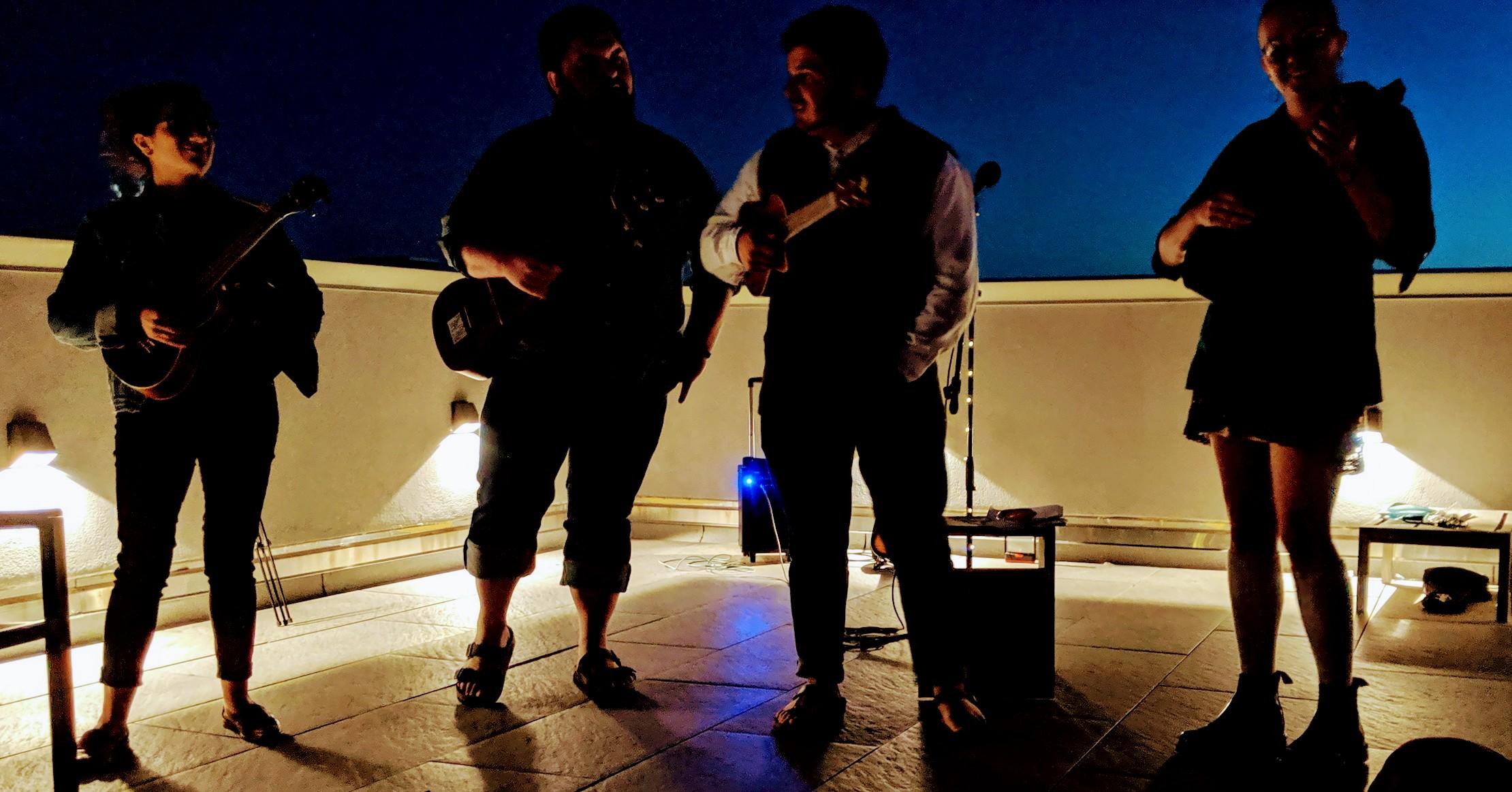 Four members of UONYC performing at the Brooklyn Ukulele Festival in Bushwick!