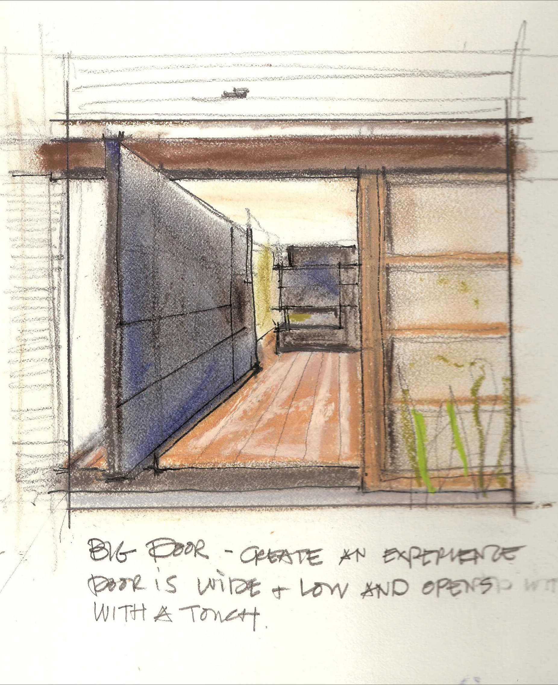 Creating an entry - A wide steel door counter-balances a low roof line.